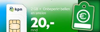 KPN 2GB data, onbeperkt bellen en sms voor € 20,- p.m.
