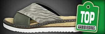 Rieker dames slippers groen koop je online bij Schuurman Schoenen